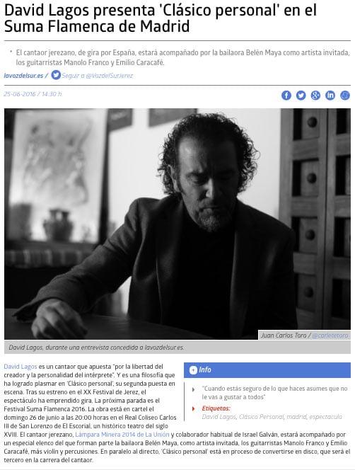 'Clásico Personal' en Suma Flamenca de Madrid.  Noticia en La Voz del Sur