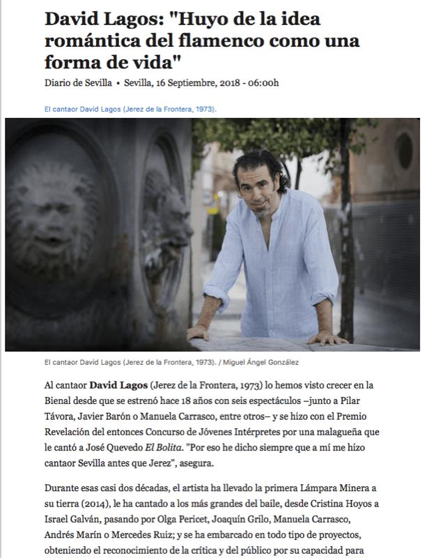 Entrevista con David Lagos.  Diario de Sevilla.