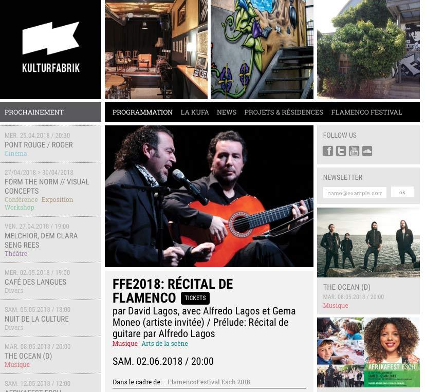 David Lagos con Alfredo Lagos y Gema Moneo. Concierto en Flamenco Festival Esch, Luxemburgo