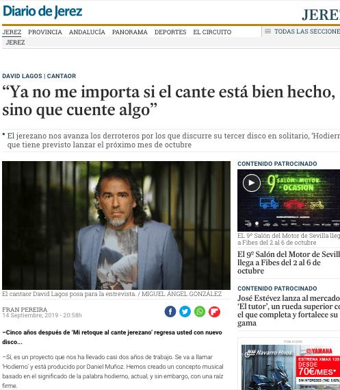 Diario de Jerez. Entrevista. David Lagos nos avanza los derroteros por los que discurre su tercer disco en solitario, 'Hodierno'