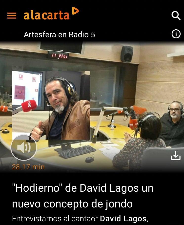 Entrevista en Artesfera (RNE) – «Hodierno» de David Lagos un nuevo concepto de jondo